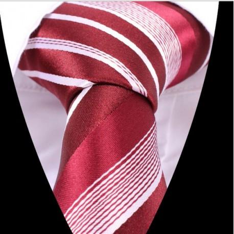 Hedvábná kravata červená pruhovaná