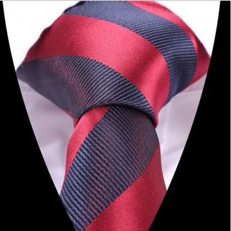 Hedvábná kravata tmavě modrá  červená pruhovaná