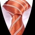 Hedvábná kravata oranžová pruhovaná