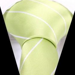 Hedvábná kravata světle zelená pruhovaná
