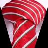 Hedvábná kravata červená s bílo zeleným pruhem