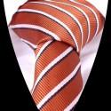 Hedvábná kravata oranžová s bílím pruhem