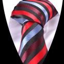 Hedvábná kravata s červeným modrým a černým pruhem
