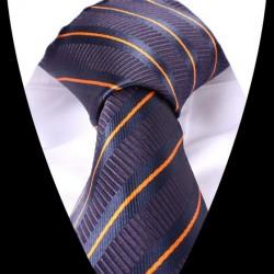 Hedvábná kravata tmavě modrá s oranžovým pruhem