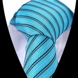 Hedvábná kravata tyrkysová pruhovaná