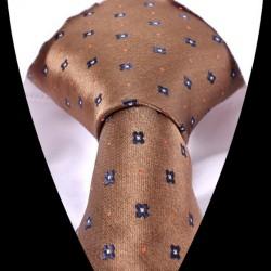 Hedvábná kravata hnědá se vzorem
