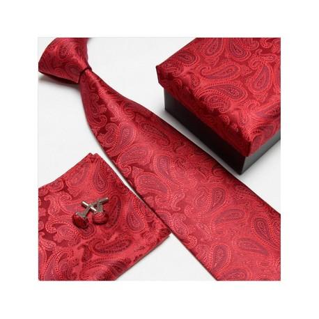 Dárková sada kravaty s manžetovými knoflíčky a kapesníčkem