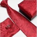 Dárková sada červené kravaty s manžetovými knoflíčky a kapesníčkem