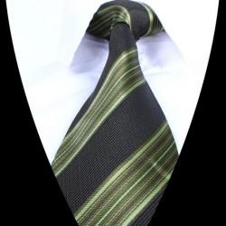 Hedvábná kravata černo zelená pruhovaná