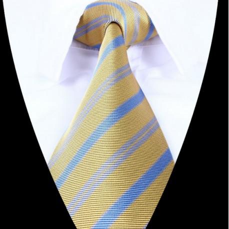 Hedvábná kravata žluto  modrá pruhovaná