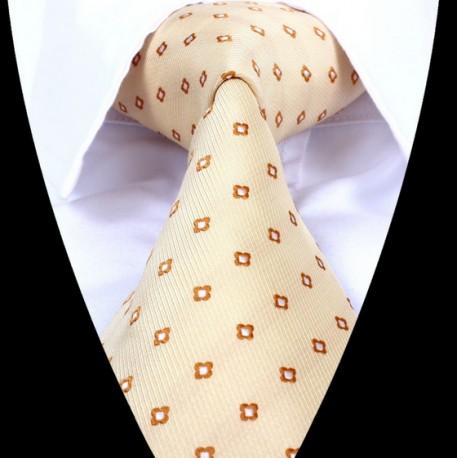 Hedvábná kravata oranžová se vzorem