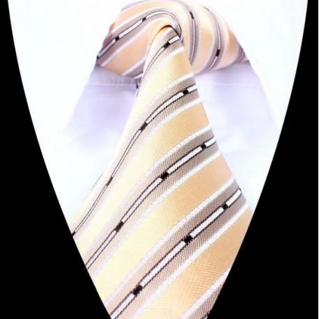 Hedvábná kravata hnědá pruhovaná