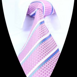 Hedvábná kravata růžová pruhovaná