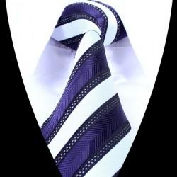 Hedvábná kravata bílo modrá pruhovaná