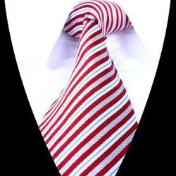 Hedvábná kravata šedá červená pruhovaná