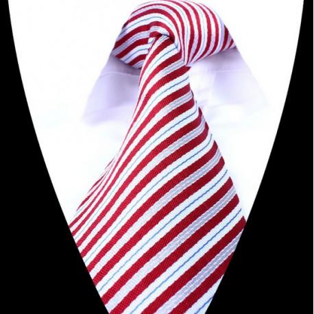 Hedvábná kravata bílá červená pruhovaná