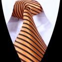Hedvábná kravata oranžová s černým pruhem