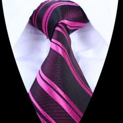 Hedvábná kravata tmavá s růžovými pruhy