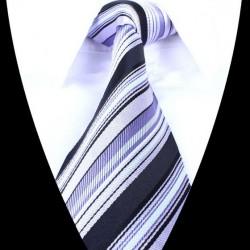 Hedvábná kravata šedá pruhovaná