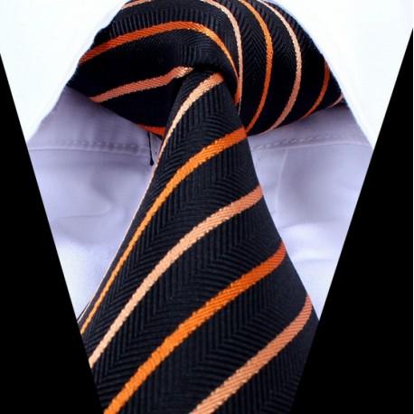 Hedvábná kravata černá pruhovaná