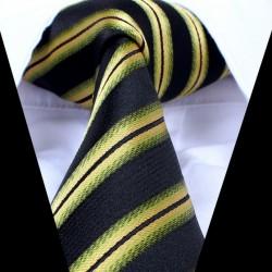 Hedvábná kravata tmavá se zeleným pruhem