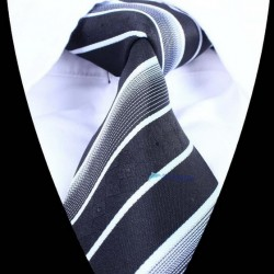 Hedvábná kravata černá šedá pruhovaná