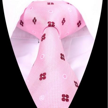 Hedvábná kravata růžová se vzorem