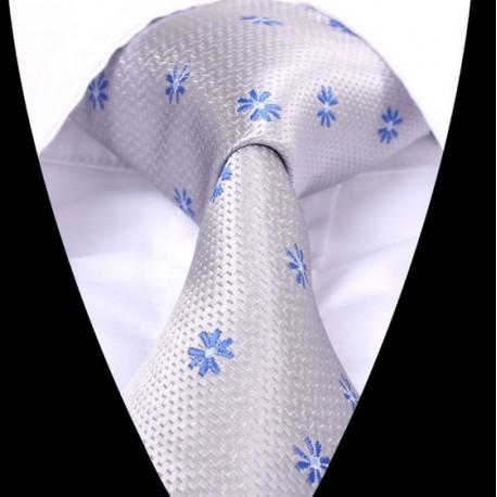 Hedvábná kravata šedá se vzorem