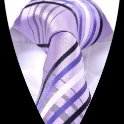 Hedvábná kravata fialová pruhovaná