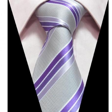 Hedvábná kravata šedo fialová pruhovaná
