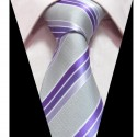 Hedvábná kravata šedá fialová pruhovaná