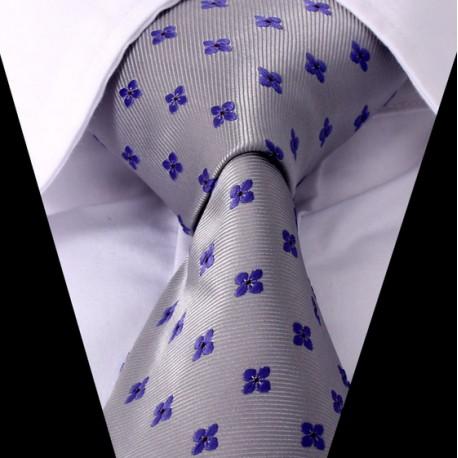 Hedvábná kravata šedá modrá se vzorem