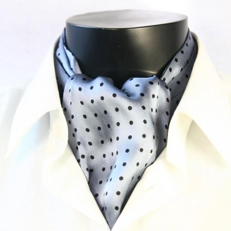 Pánská hedvábná kravatová šála stříbrná